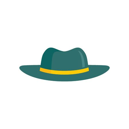 Green Hat flat icon. Vector Green hat in flat style isolated on white background. Element for web, game and advertising