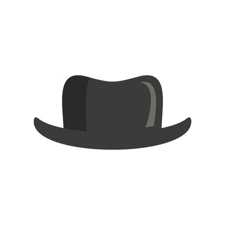Vintage male Hat flat icon. Vector Vintage male hat in flat style isolated on white background. Element for web, game and advertising