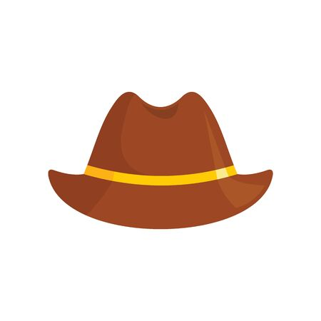 stylish Hat flat icon. Vector stylish hat in flat style isolated on white background. Element for web, game and advertising