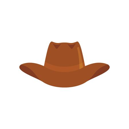 cowboy hat flat icon. Vector cowboy hat in flat style isolated on white background. Element for web, game and advertising 向量圖像