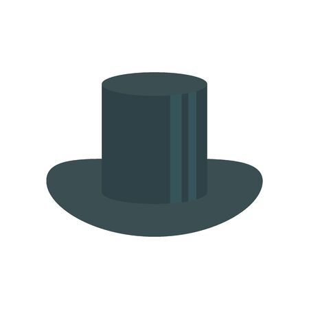 cylinder hat flat icon. Vector cylinder hat in flat style isolated on white background. Element for web, game and advertising