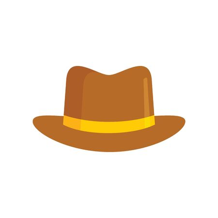 gentleman Hat flat icon. Vector gentleman hat in flat style isolated on white background. Element for web, game and advertising 向量圖像
