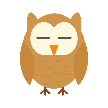 Wisdom owl flat icon. Vector Wisdom owl in flat style isolated on white background. Element for web, game and advertising