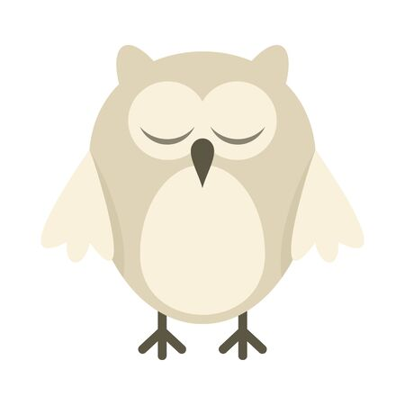 Arctic owl flat icon. Vector arctic owl in flat style isolated on white background. Element for web, game and advertising