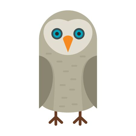 Long eared owl flat icon. Vector Long eared owl in flat style isolated on white background. Element for web, game and advertising 向量圖像