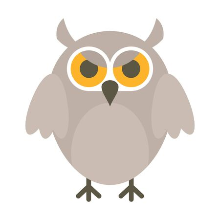 Angry owl flat icon. Vector angry owl in flat style isolated on white background. Element for web, game and advertising 向量圖像