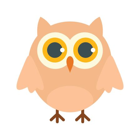 College owl flat icon. Vector college owl in flat style isolated on white background. Element for web, game and advertising