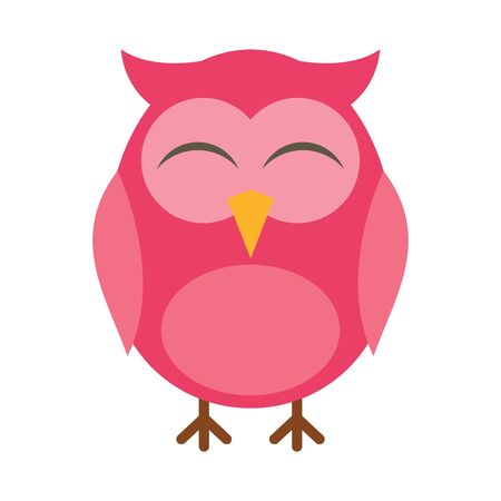 Pink owl flat icon. Vector pink owl in flat style isolated on white background. Element for web, game and advertising 向量圖像