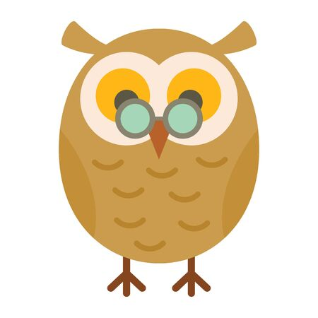 Academic owl flat icon. Vector academic owl in flat style isolated on white background. Element for web, game and advertising 向量圖像