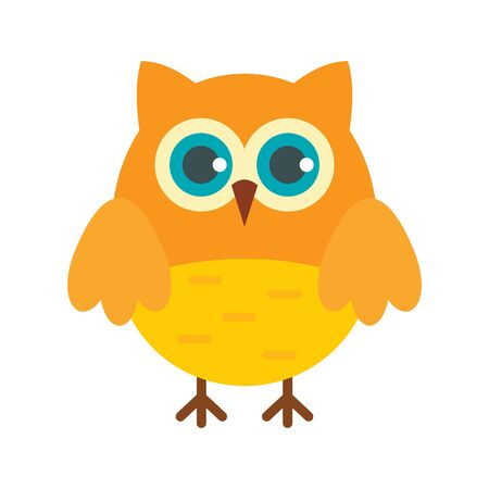 Learning owl flat icon. Vector learning owl in flat style isolated on white background. Element for web, game and advertising 向量圖像