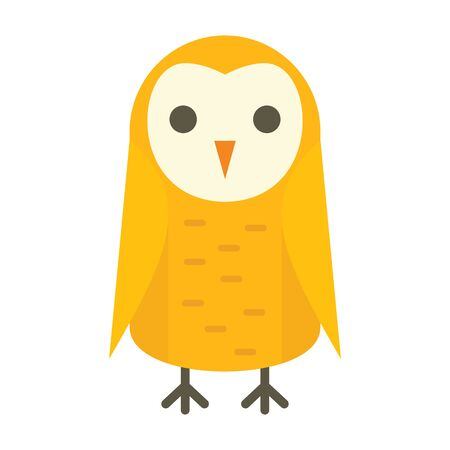 Children owl flat icon. Vector children owl in flat style isolated on white background. Element for web, game and advertising  イラスト・ベクター素材