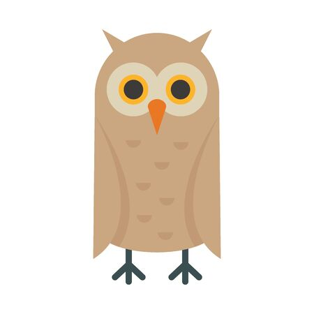Vintage owl flat icon. Vector vintage owl in flat style isolated on white background. Element for web, game and advertising 版權商用圖片 - 140455606