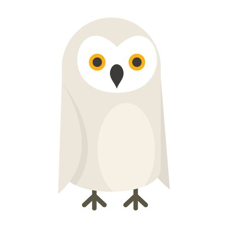 North polar owl flat icon. Vector north polar owl in flat style isolated on white background. Element for web, game and advertising