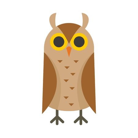 Scholar owl flat icon. Vector scholar owl in flat style isolated on white background. Element for web, game and advertising