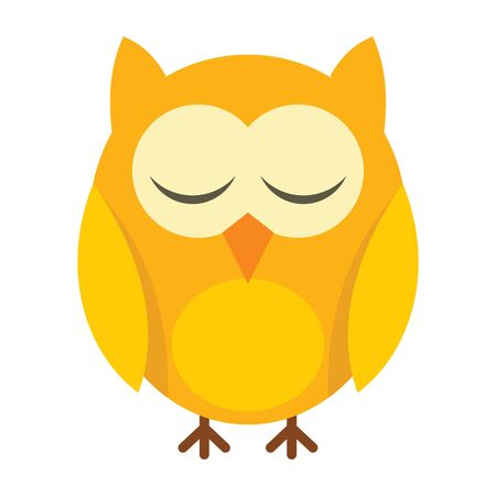 sleeping little owl flat icon. Vector sleeping little owl in flat style isolated on white background. Element for web, game and advertising