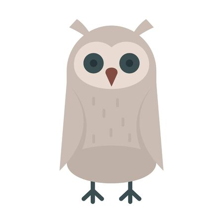 Baby owl flat icon. Vector baby owl in flat style isolated on white background. Element for web, game and advertising