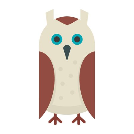 Wise owl flat icon. Vector wise owl in flat style isolated on white background. Element for web, game and advertising