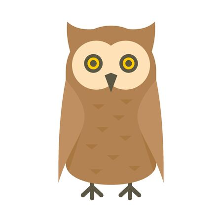 Bird owl flat icon. Vector bird owl in flat style isolated on white background. Element for web, game and advertising