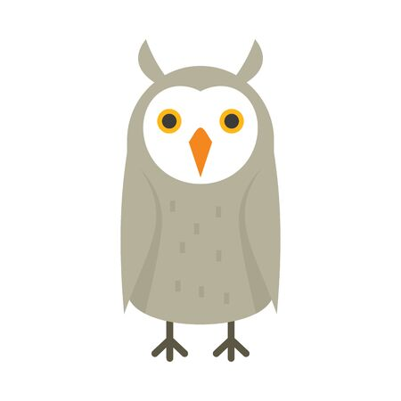 Northern owl flat icon. Vector northern owl in flat style isolated on white background. Element for web, game and advertising 向量圖像
