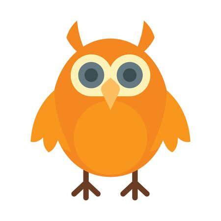 Science owl flat icon. Vector science owl in flat style isolated on white background. Element for web, game and advertising