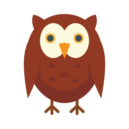 Teaching owl flat icon. Vector teaching owl in flat style isolated on white background. Element for web, game and advertising