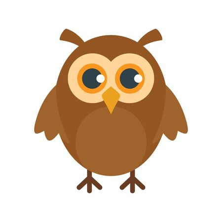 Graduation owl flat icon. Vector graduation owl in flat style isolated on white background. Element for web, game and advertising 向量圖像