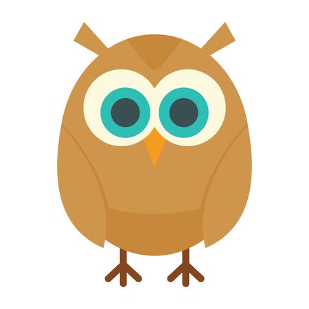 young owl flat icon. Vector young owl in flat style isolated on white background. Element for web, game and advertising
