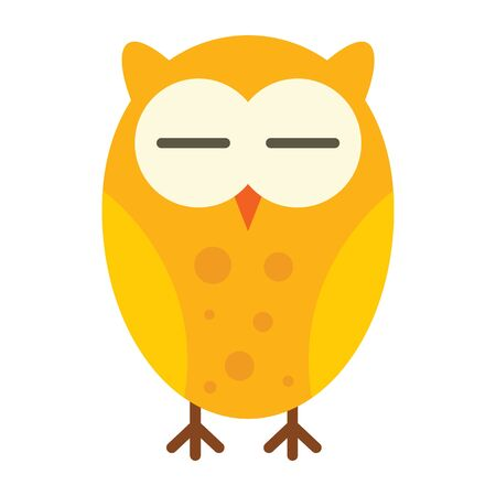 Sleeping owl flat icon. Vector sleeping owl in flat style isolated on white background. Element for web, game and advertising Çizim