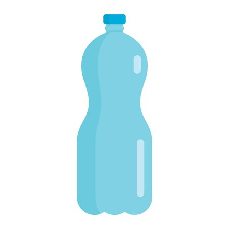 Flat plastic drink carbonated water bottle mockup isolated on white background vector illustration. Element for web, game and advertising illustration