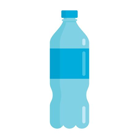 Flat plastic drink bottle for water mockup isolated on white background vector illustration. Element for web, game and advertising bottle for water illustration 向量圖像