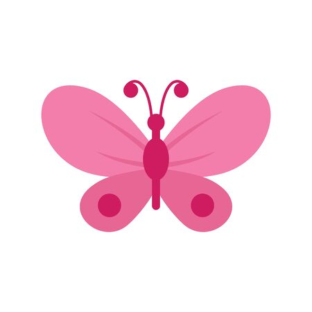 Pink butterfly flat icon. Vector Pink butterfly in flat style isolated on white background. Element for web, game and advertising Banque d'images - 140981248