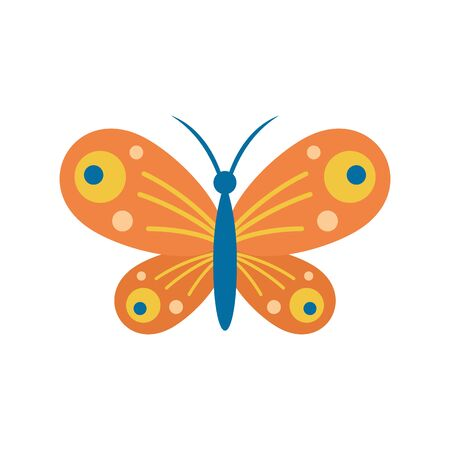 Small butterfly flat icon. Vector small butterfly in flat style isolated on white background. Element for web, game and advertising Banque d'images - 140981270