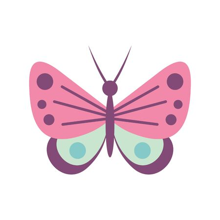 Funny butterfly flat icon. Vector funny butterfly in flat style isolated on white background. Element for web, game and advertising 向量圖像