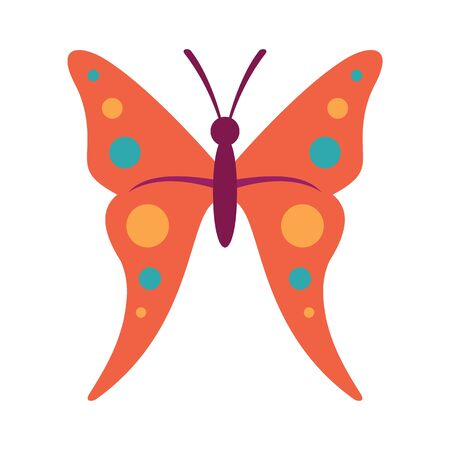 butterfly flat icon. Vector Pink butterfly in flat style isolated on white background. Element for web, game and advertising Banque d'images - 140981146