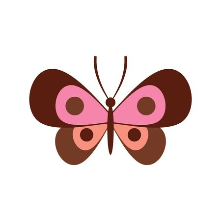 Wonderful butterfly flat icon. Vector wonderful butterfly in flat style isolated on white background. Element for web, game and advertising