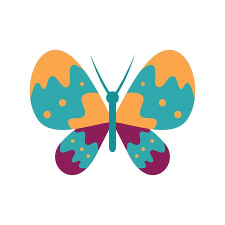Unusual butterfly flat icon. Vector unusual butterfly in flat style isolated on white background. Element for web, game and advertising Banque d'images - 140981154