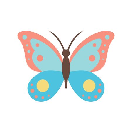 Silken butterfly flat icon. Vector silken butterfly in flat style isolated on white background. Element for web, game and advertising 向量圖像
