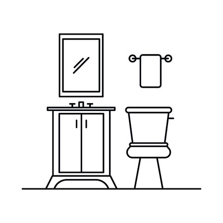 Interior with mirror, cupboard, toilet, washbasin, towel, paper. Vector Interior with , cupboard, toilet, towel, in outline style isolated on white background. Element for web Vecteurs