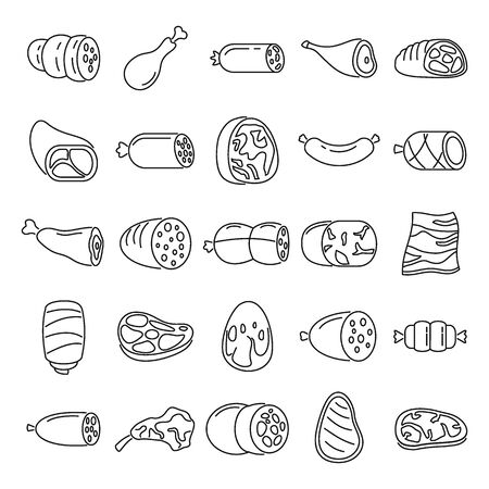 Meat products outline icons set. Vector Meat products outline collection isolated on white background with sausage, meat and steak for web and advertising 向量圖像