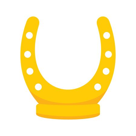 Shiny golden retro horseshoe vector flat icon, lucky symbol isolated on white illustration