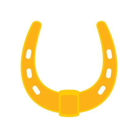 Shiny golden metal horseshoe vector flat icon, lucky symbol isolated on white illustration 向量圖像