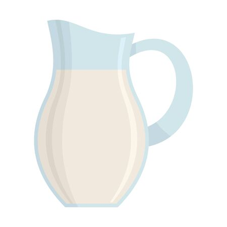 Milk in jug flat icon. Vector Milk in jug in flat style isolated on white background. Element for web, game and advertising