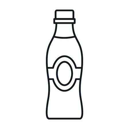 yogurt in a bottle line icon. Vector yogurt in a bottle in line style isolated on white background. Element for web, game and advertising 向量圖像