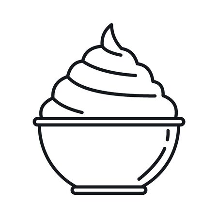 cream in a plate line icon. Vector cream in a plate in line style isolated on white background. Element for web, game and advertising  イラスト・ベクター素材