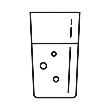 milk in a glass line icon. Vector milk in a glass in line style isolated on white background. Element for web, game and advertising