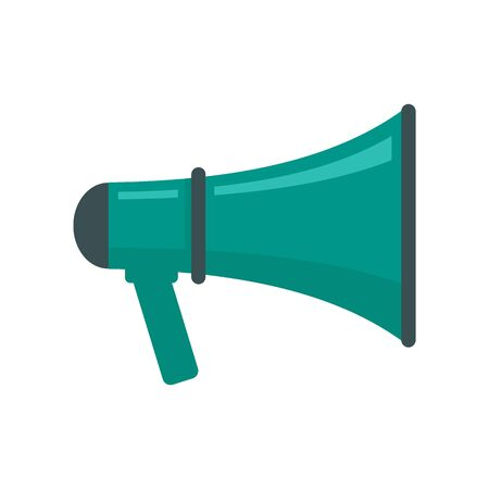 Audio Megaphone flat icon. Vector Audio Megaphone in flat style isolated on white background. Element for web, game and advertising