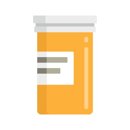 Yellow bottle of medicine flat icon. Vector bottle of medicine in flat style isolated on white background. Element for web, game and medicine advertising