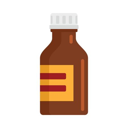 Brown bottle of medicine flat icon. Vector bottle of medicine in flat style isolated on white background. Element for web, game and medicine advertising