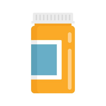 bottle of medicine flat icon. Vector bottle of medicine in flat style isolated on white background. Element for web, game and medicine advertising 向量圖像
