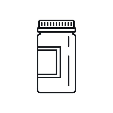 bottle of medicine outline icon. Vector bottle of medicine in outline style isolated on white background. Element for web, game and medicine advertising Ilustração